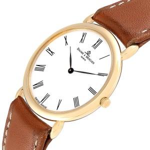 Baume Mercier Classima Ultra Thin Yellow Gold Quartz Mens Watch 15606
