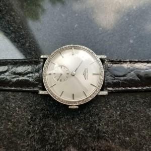 Mens Longines 32mm 18K White Gold Diamond Hand-Wind Dress Watch c.1970s MS187