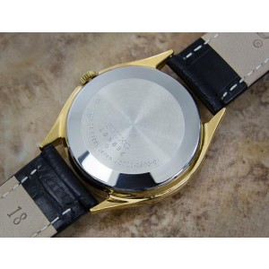 Mens Seiko QZ 0922-8000 35mm Gold-Plated Quartz Dress Watch w/Date, c.1970s Y115