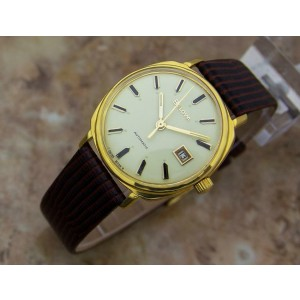 Mens Bulova M8 34mm Gold-Plated Automatic w/Date, c.1960s Swiss Vintage YY42