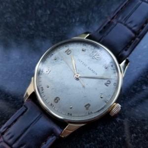 ULYSSE NARDIN Men's 18K Solid Gold Large Dress Watch 36mm, c.1960s Swiss LV733