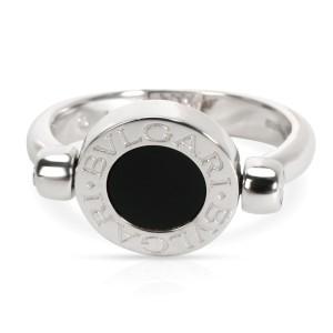 Bulgari Flip Diamond & Onyx Ring in 18KT White Gold 0.07 CTW