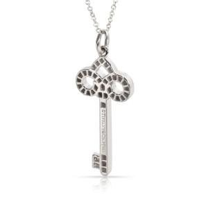 Tiffany & Co. Fleur De Lis Diamond Key Pendant Necklace in Platinum 0.12 ctw