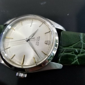 Mens Rolex Oyster 6424 36mm Hand-Wind Dress Watch, c.1960s Vintage MA171GRN