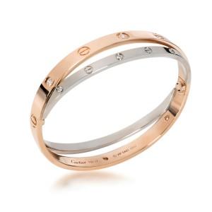 Cartier Joined Love Bracelet in 18KT Rose Gold & White Gold 0.75 CTW