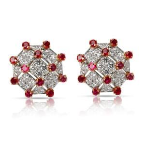 Vintage Tiffany Diamond & Ruby Trellis Earrings in Yellow Gold/Platinum 3.19 CTW