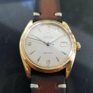 Mens Rolex Oysterdate Precision 34mm Gold-Capped Red Date Manual, c.1950s MA186