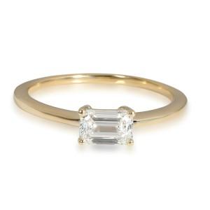 GIA Certified Emerald Cut Diamond Ring in 14K Yellow Gold (0.61 ct F/SI1)