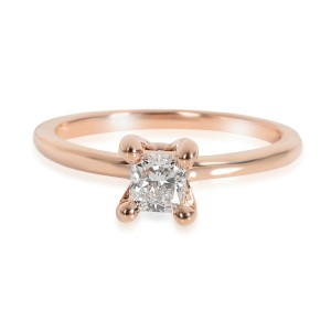 GIA Certified Radiant Diamond Engagement Ring in 14K Rose Gold E SI2 0.45 ct