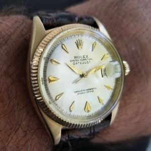 Mens Rolex Oyster Datejust 6605 35mm 14k Gold Automatic, c.1950s Vintage LV694