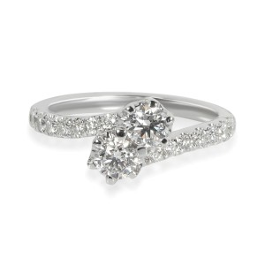 Two Stone Diamond Ring in 14K White Gold 1.00 CTW