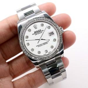 Rolex Datejust 36MM Oyster/Custom Diamond Bezel/White Jubilee Diamond Dial116200