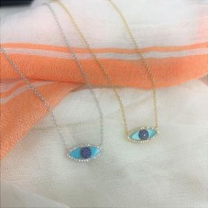 14k Gold & Diamond Turquoise Evil Eye Necklace