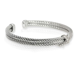 David Yurman Cable Diamond X Bracelet in Sterling Silver 0.22 CTW
