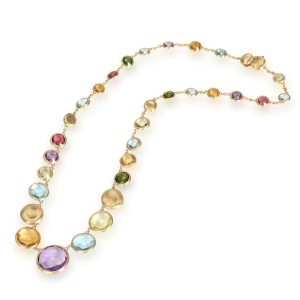 Marco Bicego Jaipur Necklace with Multi-Colored Gemstones in 18K Yellow Gold