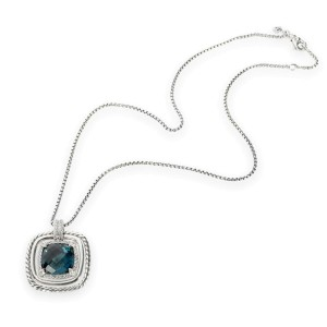 David Yurman Chatelaine Pendant with Topaz & Diamond in Sterling Silver 0.41 CTW