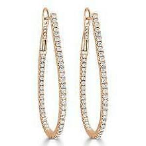 Inside Out Diamond Hoop Earrings in 14KT Rose Gold 1.60 ctw
