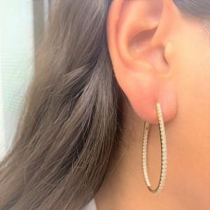 Inside Out Diamond Hoop Earrings in 14KT White Gold 1.60 ctw
