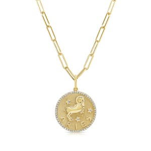 Aries Zodiac Diamond Necklace in 14KT Yellow Gold
