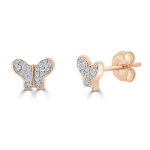 14k Rose Gold & Diamond Butterfly Studs