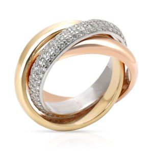Cartier Trinity Classic Diamond Ring in 18K Yellow, White & Rose Gold (Size 49)