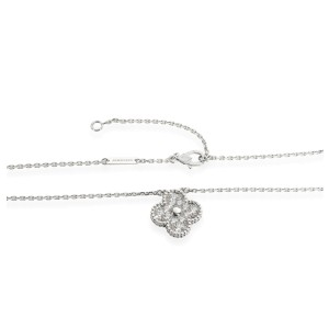 Van Cleef & Arpels Vintage Alhambra Diamond Pendant in 18K White Gold 0.48 CTW