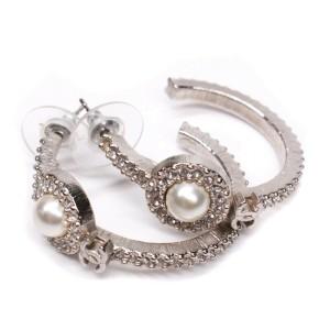 Chanel - New - Rare 2016 CC Pearl Hoop Earrings - Crystal Monogram 16B Silver