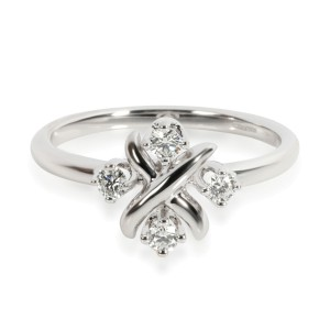 Tiffany & Co. Schlumberger Lynn Diamond Ring in Platinum 0.2 CTW