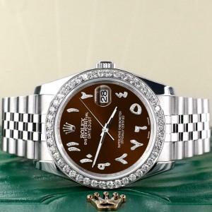 Rolex Datejust 116200 36mm 2ct Diamond Bezel/Chocolate Arabic Dial Steel Watch