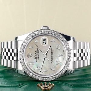 Rolex Datejust 116200 36mm 2.0ct Diamond Bezel/Champagne MOP Dial Steel Watch