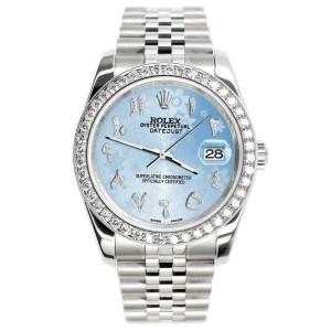 Rolex Datejust 116200 36mm 2ct Diamond Bezel/Blue Flower Arabic Dial Steel Watch