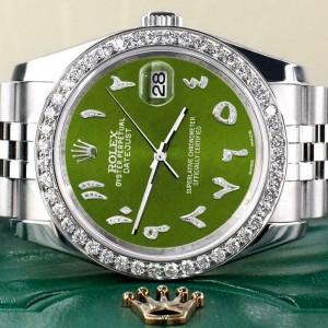 Rolex Datejust 116200 36mm 2ct Diamond Bezel/Royal Green Arabic Dial Steel Watch