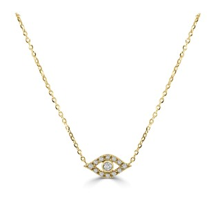 14k Yellow Gold & Diamond Evil Eye Necklace