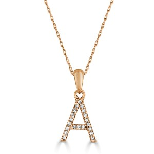 14k Gold & Diamond Initial Necklace- A