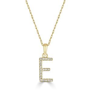 14k Gold & Diamond Initial Necklace- E