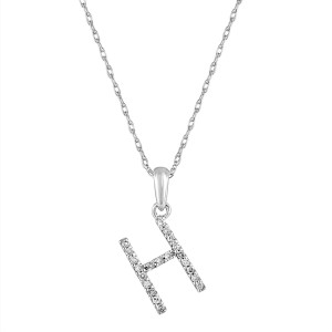 14k Gold & Diamond Initial Necklace- H