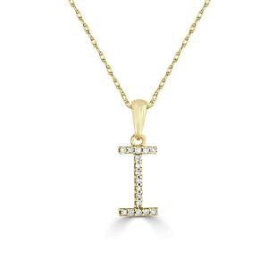 14k Gold & Diamond Initial Necklace- I