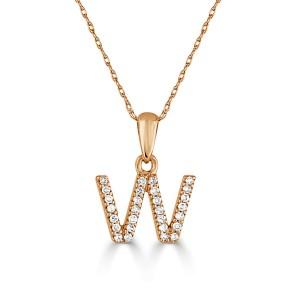 14k Gold & Diamond Initial Necklace- W