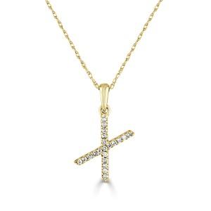 14k Gold & Diamond Initial Necklace- X