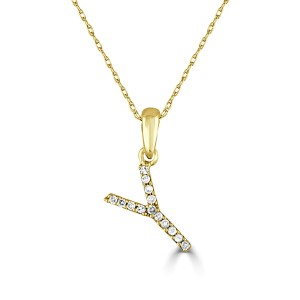 14k Gold & Diamond Initial Necklace- Y