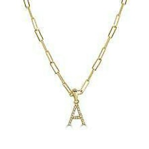"""14k Yellow Gold & Diamond Paperclip Initial """"A"""" Necklace"""