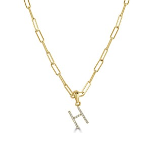 """14k Yellow Gold & Diamond Paperclip Initial """"H"""" Necklace"""