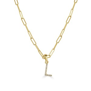 """14k Yellow Gold & Diamond Paperclip Initial """"L"""" Necklace"""