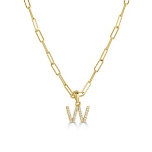 """14k Yellow Gold & Diamond Paperclip Initial """"W"""" Necklace"""