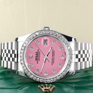 Rolex Datejust 116200 36mm 1.85ct Diamond Bezel/Hot Pink Dial Steel Watch