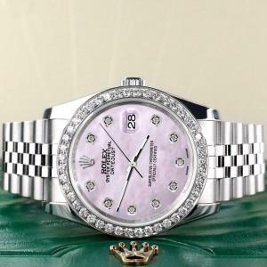 Rolex Datejust 116200 36mm 1.85ct Diamond Bezel/Pink Pearl Diamond Dial Watch
