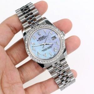 Rolex Datejust 116200 36mm 2ct Diamond Bezel/Purple MOP Arabic Dial Steel Watch