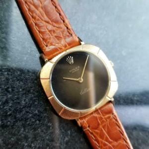Ladies Rolex Cellini 18k Gold ref.3878 25mm 1970s Manual Wind Swiss LV701TAN