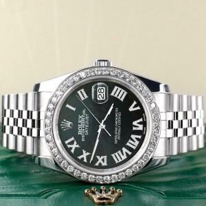 Rolex Datejust 116200 36mm 2.0ct Diamond Bezel/Black MOP Roman Dial Steel Watch