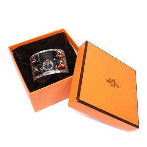 Hermes - New - CDC Bracelet - Silver Stud Brown Lizard Leather Wide Adjustable